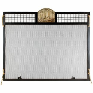 Forest Fox Emblem Single Panel Iron Fireplace Screen by Minuteman International