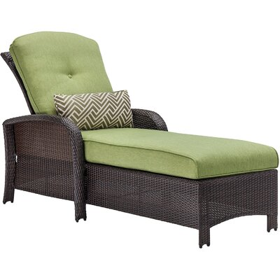 Barrand Reclining Chaise Lounge with Cushion Color: Green by Darby Home Co