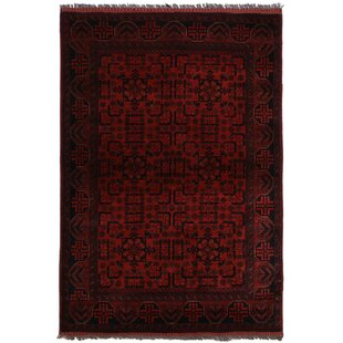One-of-a-Kind Cremeans Hand-Knotted 4'4 x 6'5 Wool Red/Black Area Rug Isabelline