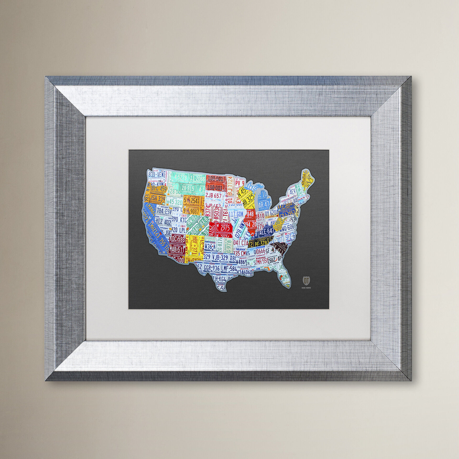 Latitude Run Massive Usa License Plate Map By Design Turnpike Picture Frame Graphic Art Print On Canvas Wayfair