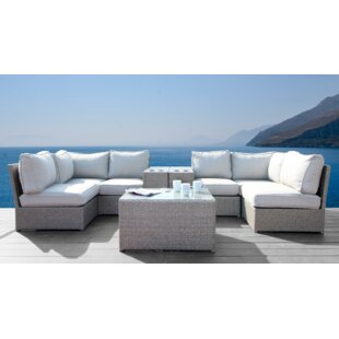 Simmerman Cup Holder 9 Piece Rattan Sectional Seating Group