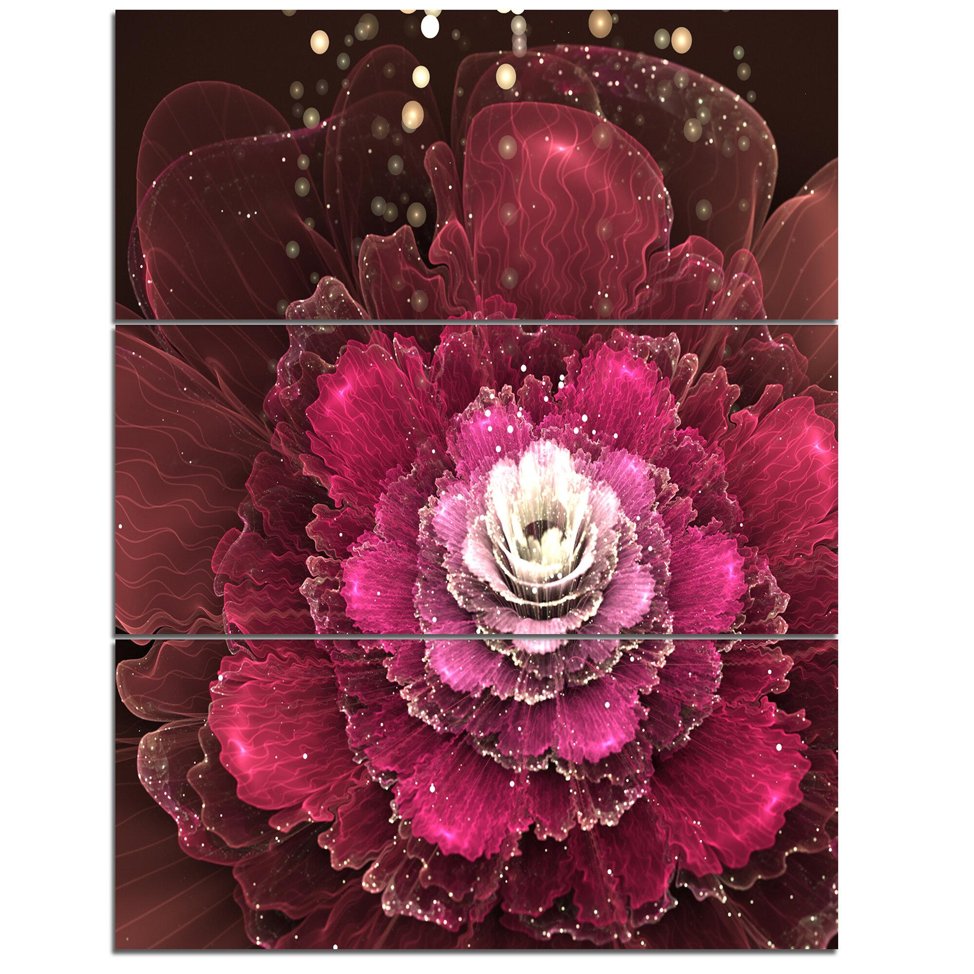 Designart Fractal Red Rose Flower 3 Piece Graphic Art On Wrapped Canvas Set Wayfair