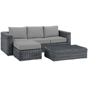 Alaia 3 Piece Rattan Sunbrella Sofa Seating Group with Cushions