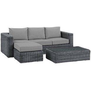Alaia 3 Piece Rattan Sunbrella Sofa Seating Group with Cushions