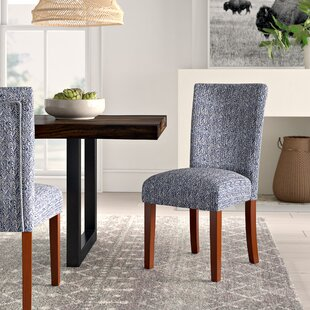 Mistana Kelsi Upholstered Parsons Chair in Blue (Set of 2)