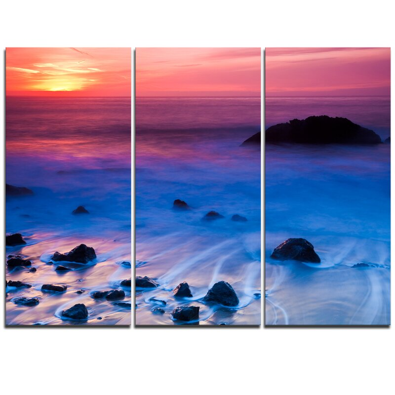 Designart Bright Colorful Rocky Coast Panorama 3 Piece Graphic Art On Wrapped Canvas Set Wayfair