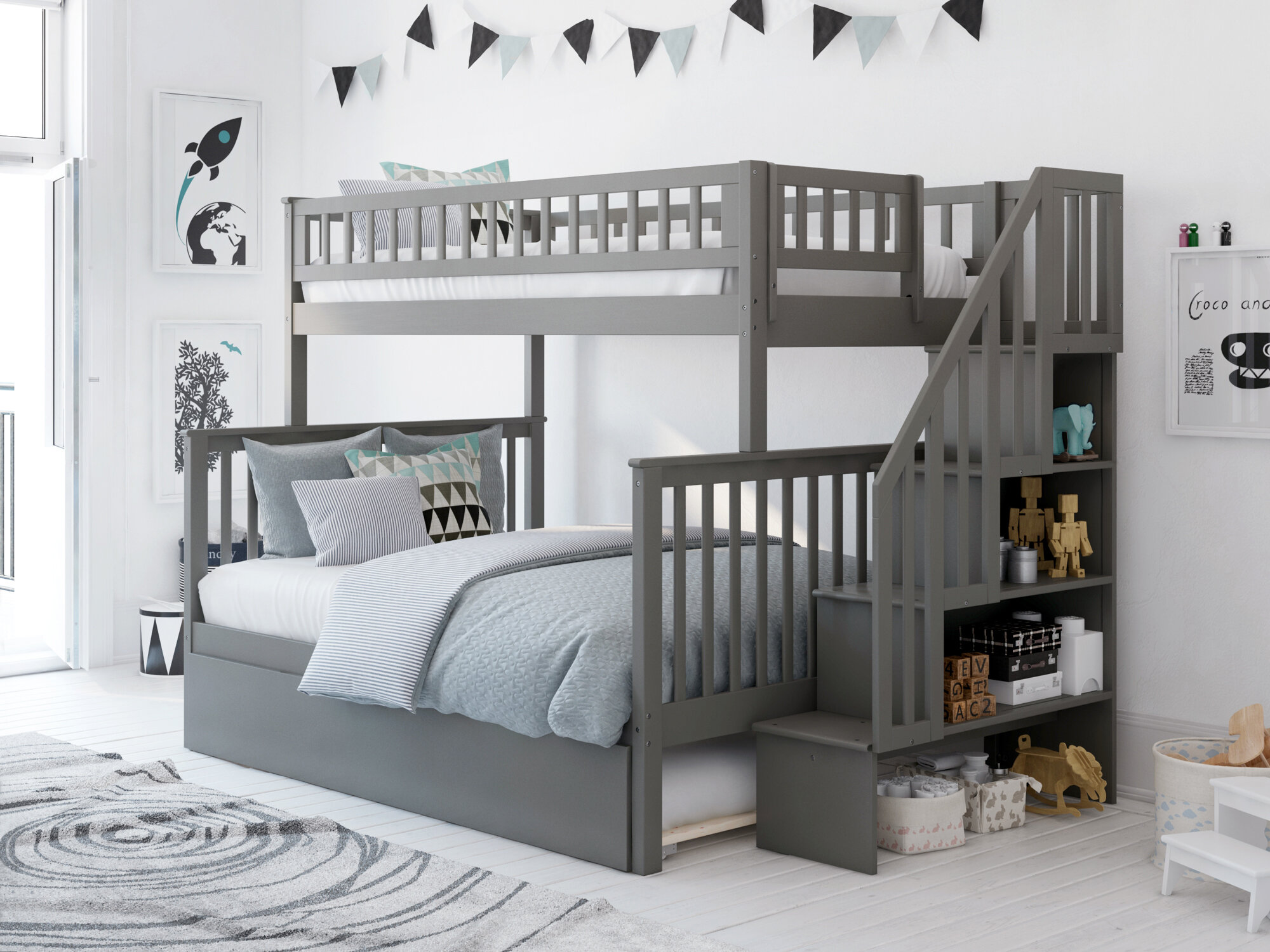 Picture of: Grey Wood Bunk Beds You Ll Love In 2020 Wayfair
