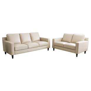Darby Home Co Oaklynn 2 Piece Leather Living Room Set
