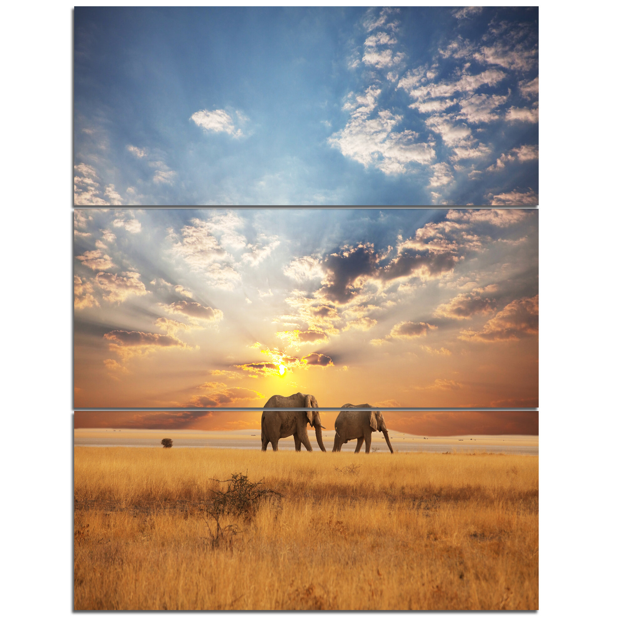 Designart Elephants Walking Along River Bank 3 Piece Photographic Print On Wrapped Canvas Set Wayfair
