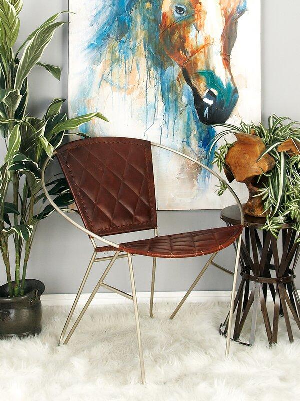 Metal And Leather Papasan Chair