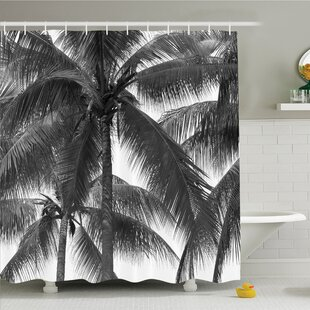 Palm Tree Silhouette Exotic Plant on Thema Foliages Relax in Nature Image Shower Curtain Set