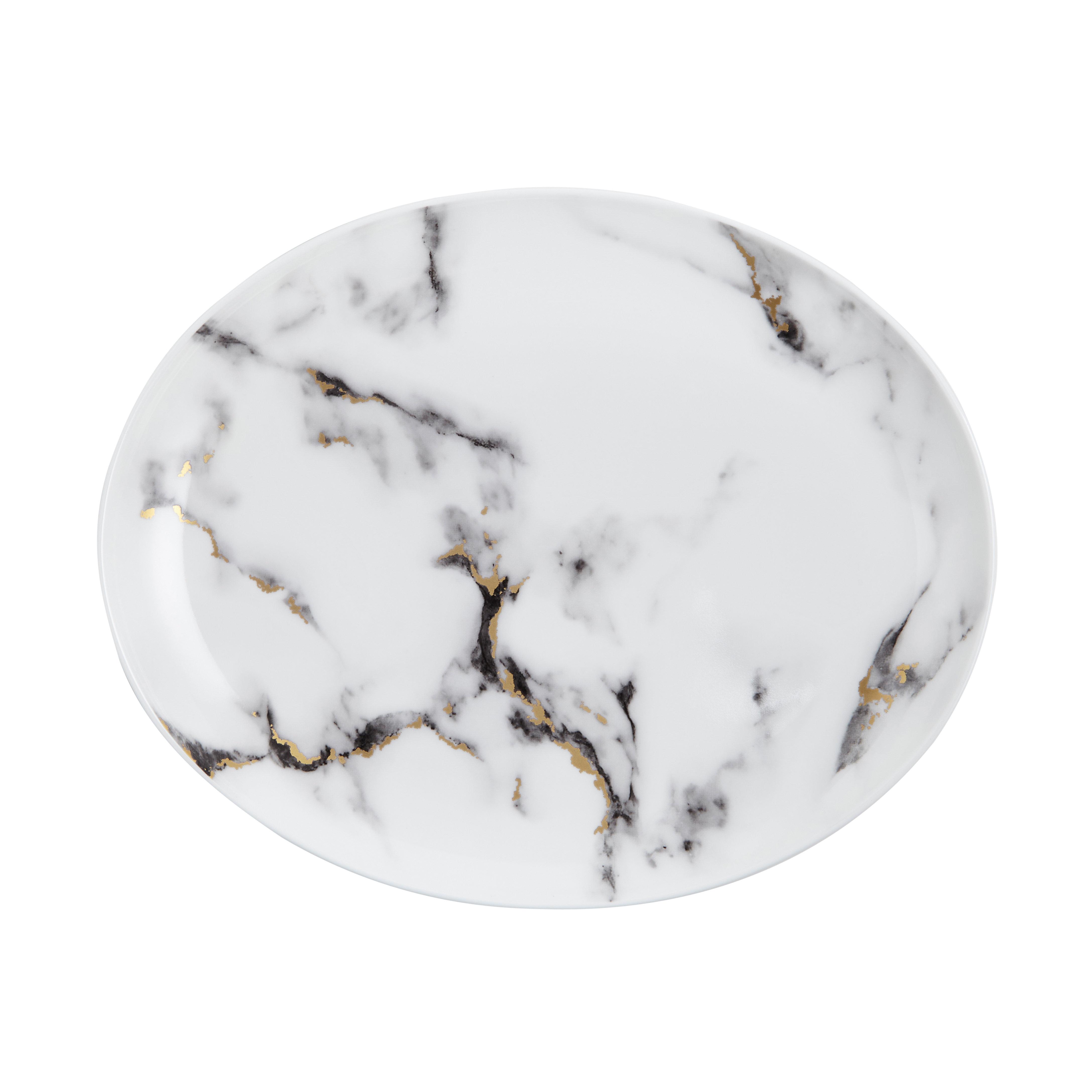 Prouna Marble Venice Fog Bone China 12 Oval Platter Wayfair