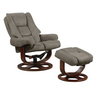 Haeli Lounge Swivel Recliner with Ottoman