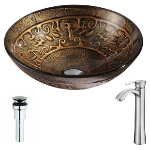 Best Reviews Alto Glass Circular Vessel Bathroom Sink with Faucet By ANZZI
