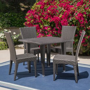 Mebane Outdoor 5 Piece Dining Set by Wrou..