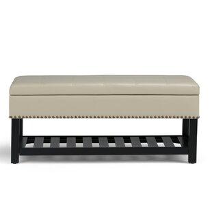 Simpli Home Radley Leather Storage Bench