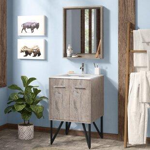 Price comparison Ellison Nature Wood 24 Single Bathroom Vanity with Mirror ByUnion Rustic
