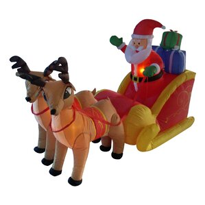 Christmas Inflatable Santa On Sleigh With Reindeer Decoration
