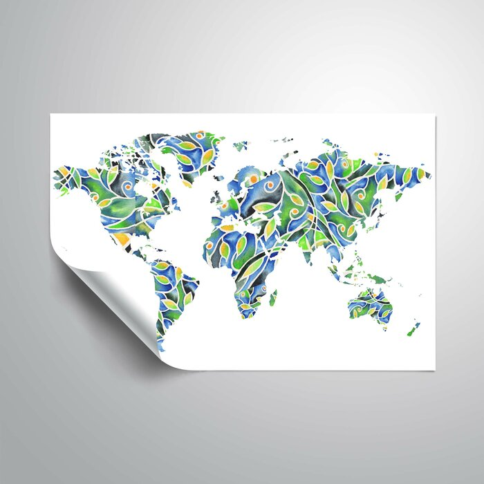 World Map Removable Wall Sticker.Ebern Designs Nunnari Organic Watercolorr World Map Removable Wall