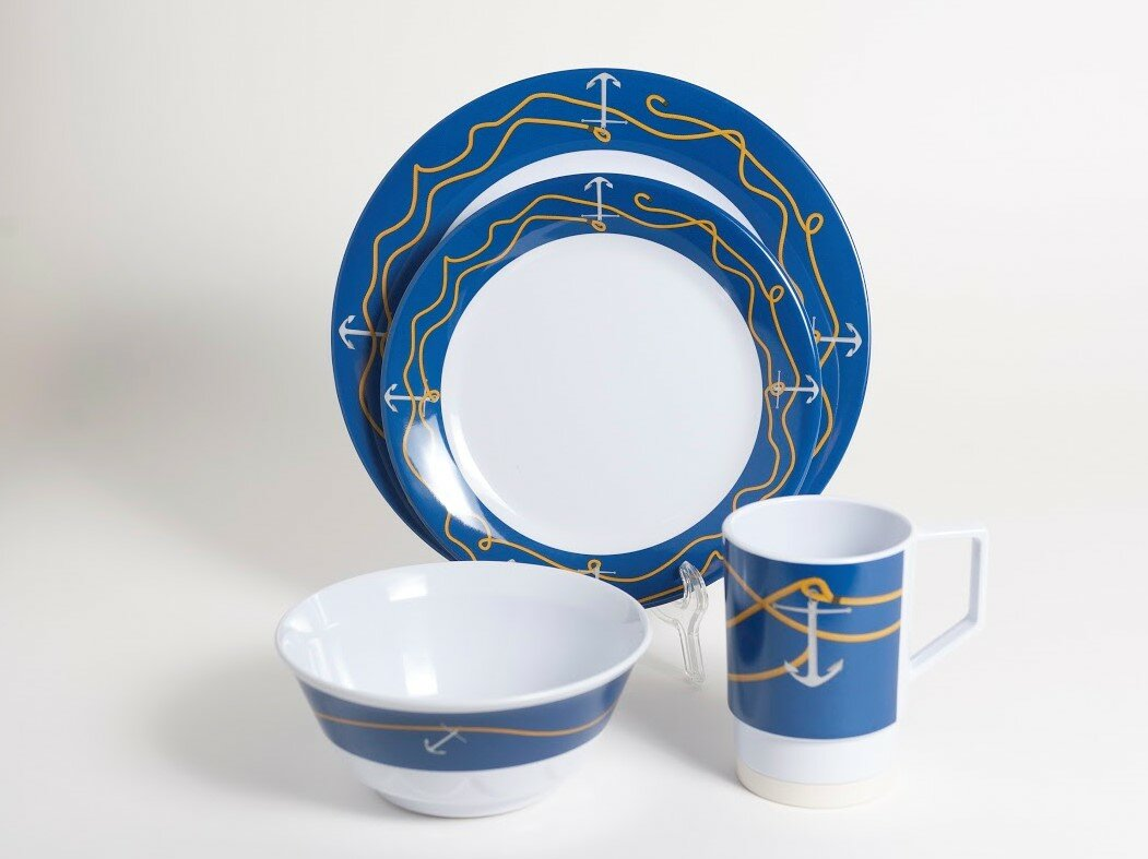 Decorated Anchorline Melamine 24 Piece Dinnerware Set Service for 6 & Galleyware Company Decorated Anchorline Melamine 24 Piece Dinnerware ...