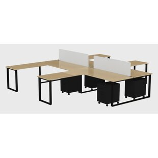 Wickstrom Benching for Four - 72 X 30 Desk with 48 X 24 Return, 2 Privacy Screens and 4 Mobile Pedestals, Designer White Laminate/Silver Finish