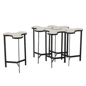 Global Views Link Bunching End Table with Travertine Top