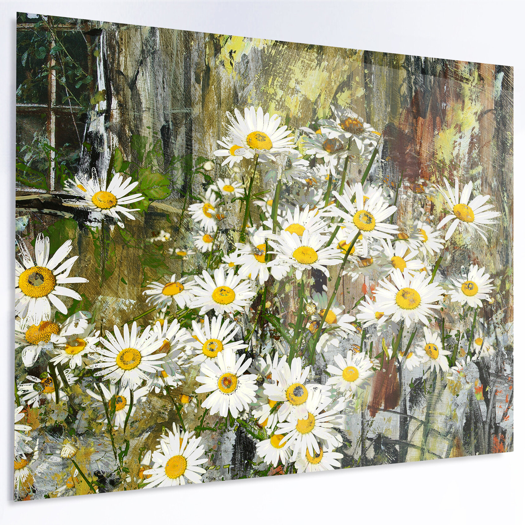 Designart Daisies Flowers Under The Window Painting Print On Metal