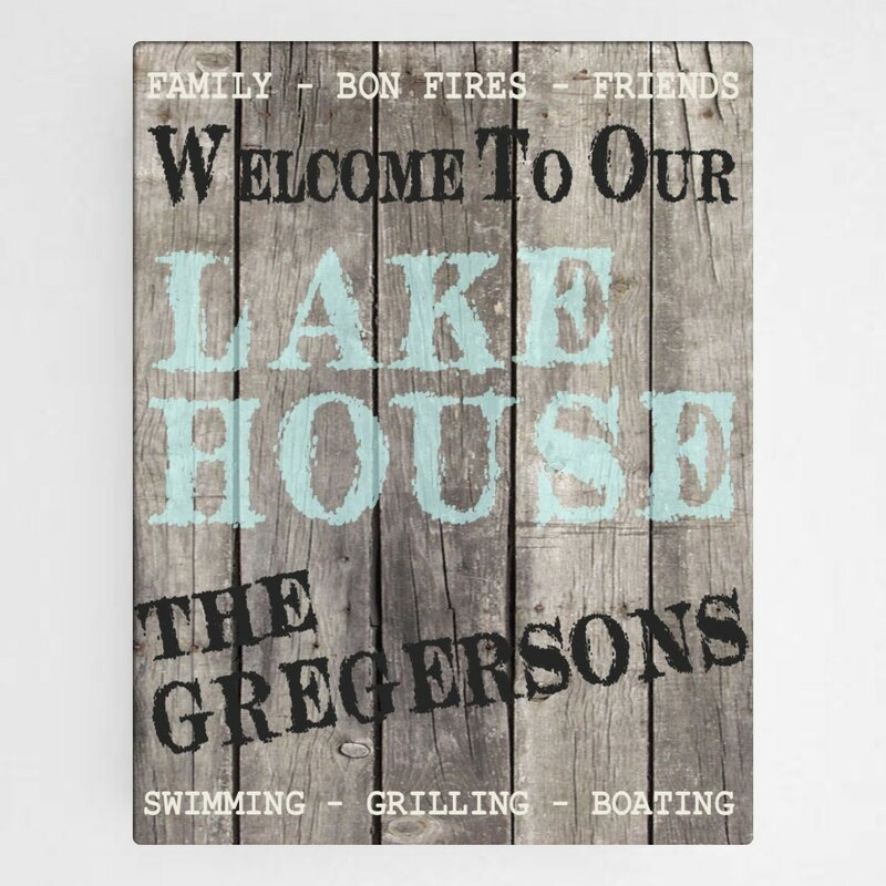 jds personalized gifts wood lake house personalized textual art on wrapped canvas reviews wayfair wayfair com