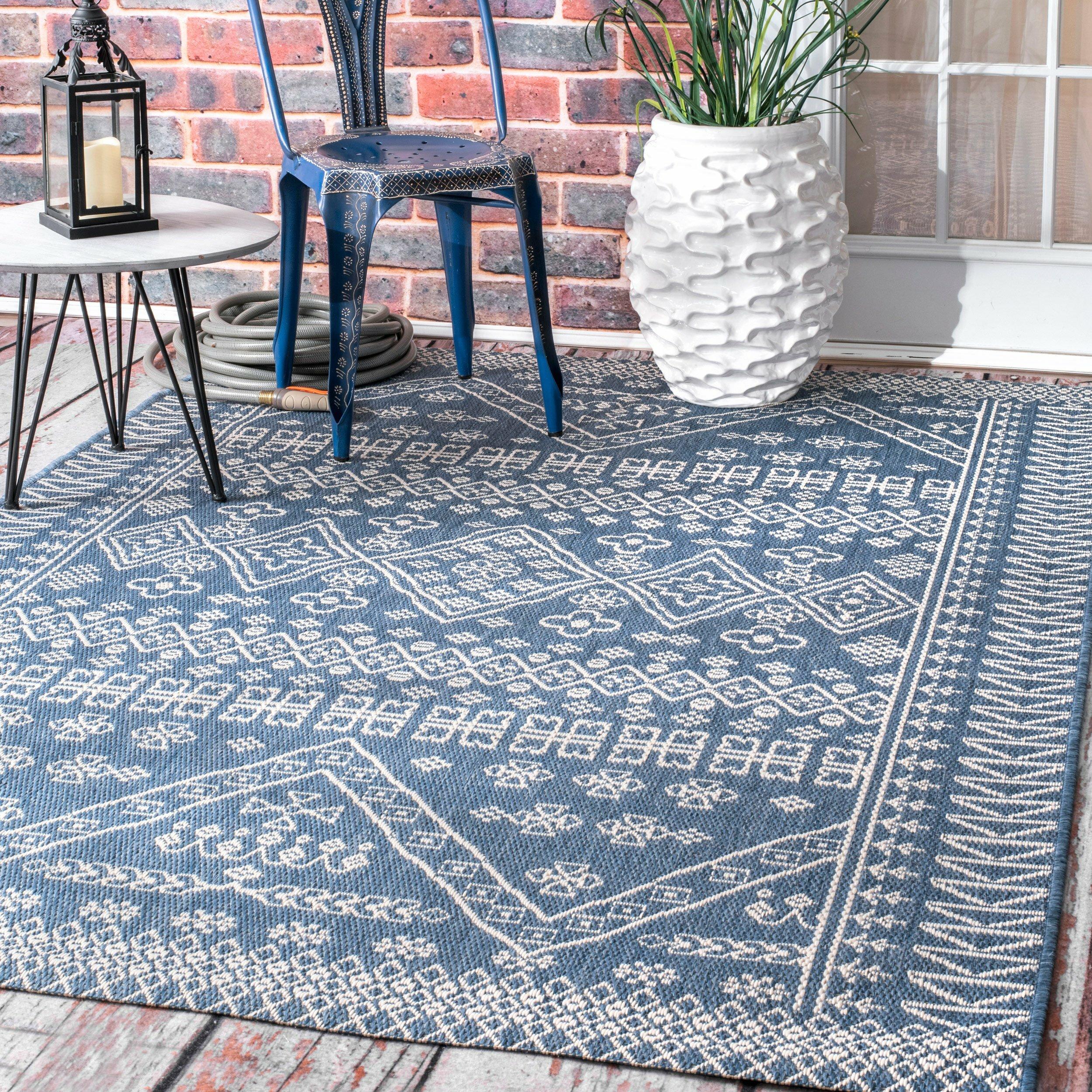 Zahara Blue Indoor Outdoor Area Rug