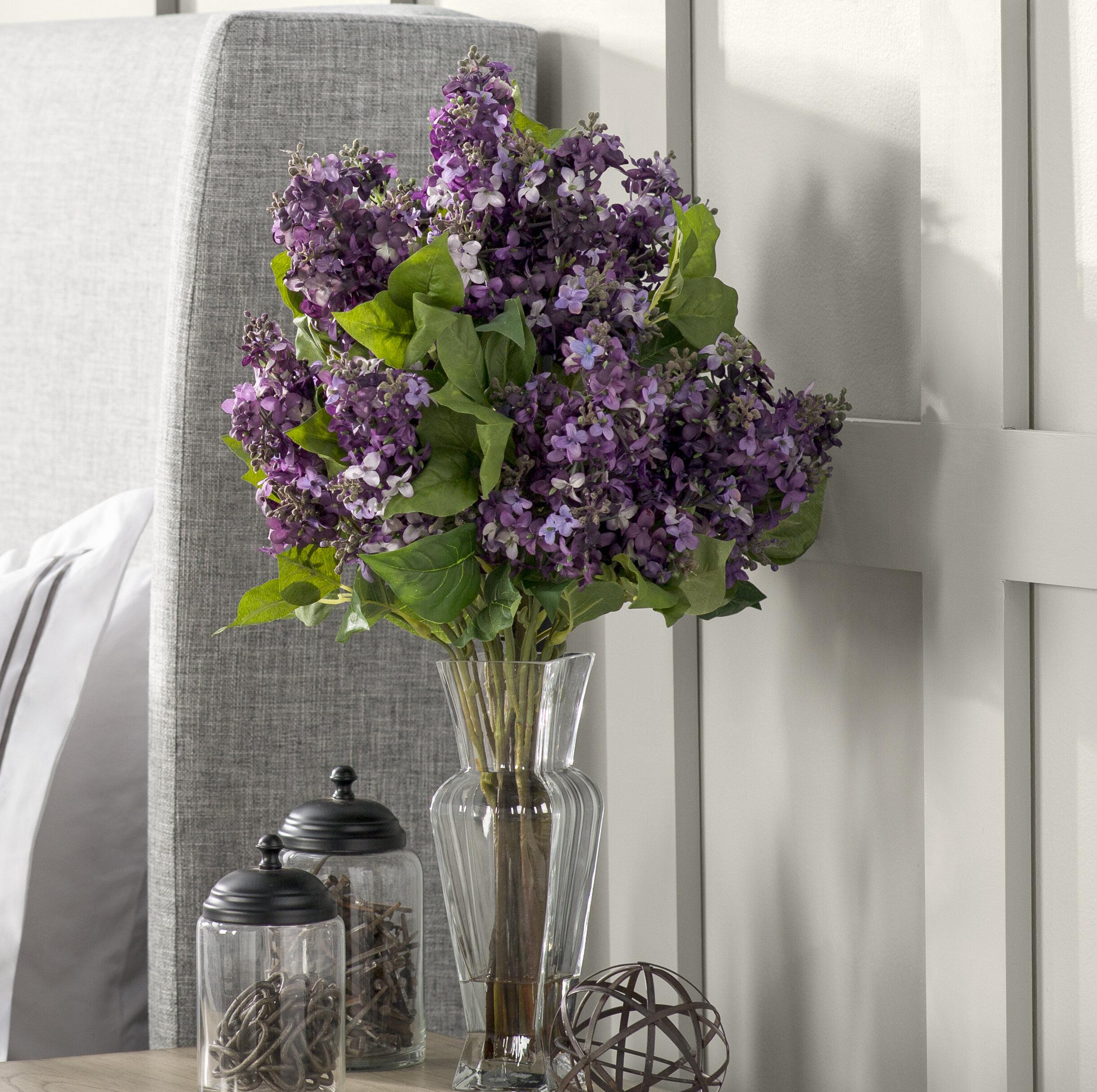 Lilac Silk Flower Arrangement With Decorative Vase Reviews Joss