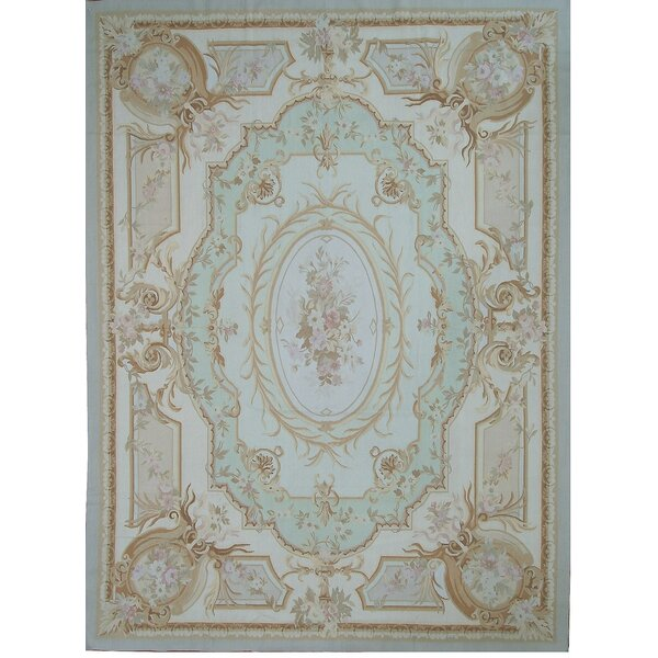 Pasargad Aubusson Hand Woven Wool Beige Green Blue Area Rug Wayfair