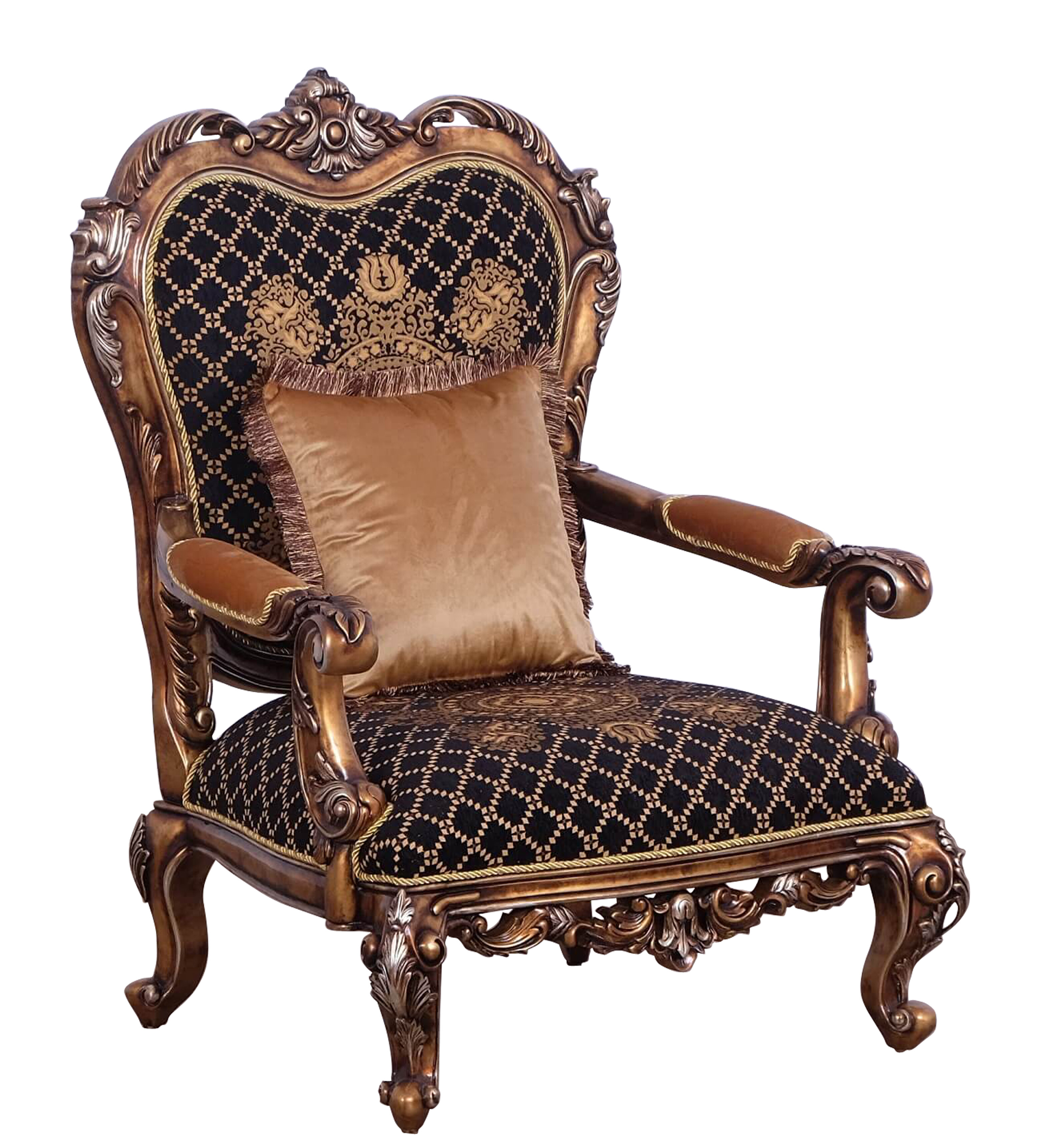 Benjara Baroque Style Wooden Chair With Carved Decoration Brown And Black Wayfair