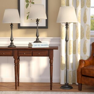 Darby Home Co Cummingham 3 Piece Table and Floor Lamp Set