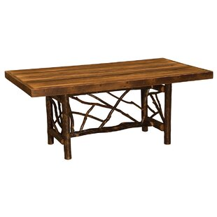 Hickory Twig Log Solid Wood Dining Table by Fireside Lodge 2019 Coupon