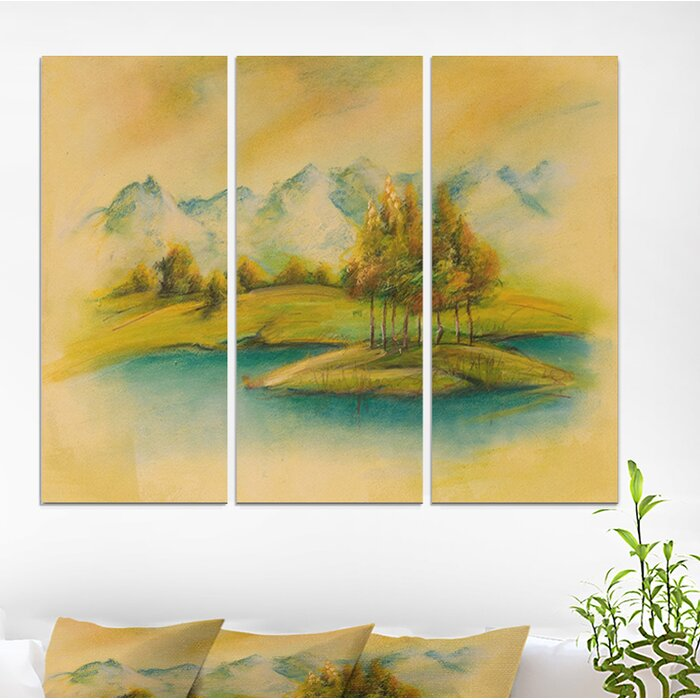 'Summer Scene Landscape' Oil Painting Print Multi-Piece Image on Wrapped  Canvas