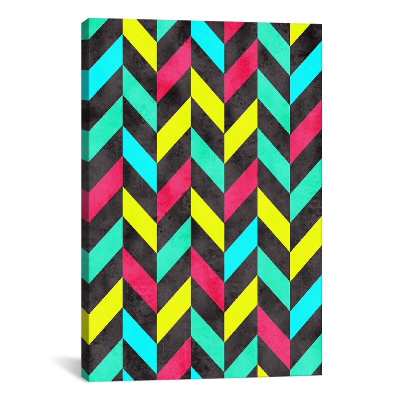 East Urban Home Psychedelic Chevron Graphic Art On Wrapped Canvas Wayfair