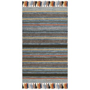 Trenton Hand-Woven Cotton Blue Area Rug