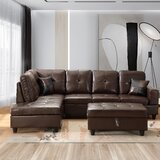Cang 103.5 Faux Leather Modular Sofa & Chaise with Ottoman by Latitude Run®