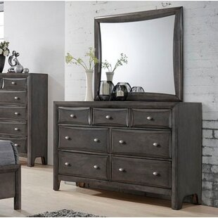 Wrought Studio Anja 7 Drawer Double Dresser with Mirror
