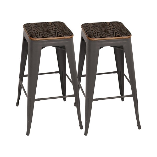 Bar Stools Industrial Vintage Antique Bar Stool Height 66.5cm Round Seat Wooden Loft Style Furniture Counter Bar Stool 3 Leg Solid Wood