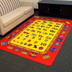 Paradise Alphabets Train Red Indoor Area Rug