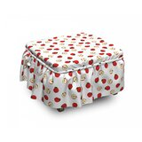 Apple Vibrant Fruit Slices 2 Piece Box Cushion Ottoman Slipcover Set by East Urban Home