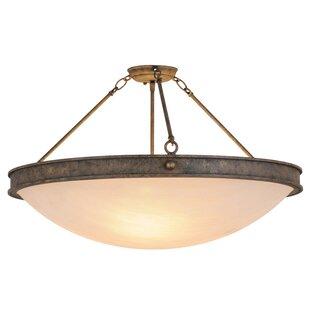 Meyda Tiffany Greenbriar Oak Dionne 3-Light Semi-Flush Mount