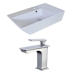 Read Reviews Ceramic Rectangular Vessel Bathroom Sink with Faucet and Overflow ByAmerican Imaginations