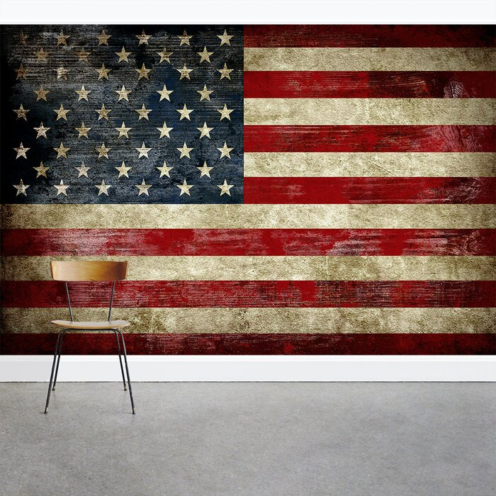 American Flag 8 X 144 3 Piece Wall Mural Set