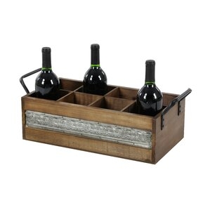Wood/Metal 8 Tabletop Wine Bottle Rack..