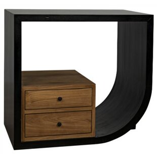 Burton Right End Table with Storage by Noir