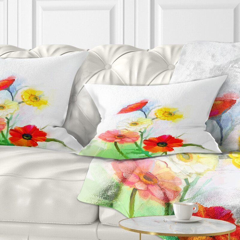 East Urban Home Designart Still Life Coloured Gerbera Flowers Floral Throw Pillow Wayfair Ca