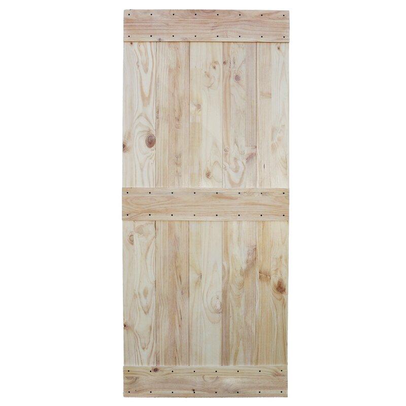 Two Side Mid Bar Solid Wood Paneled Pine Slab Interior Barn Door