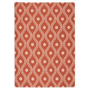 Coyne Rust/White Indoor/Outdoor Area Rug